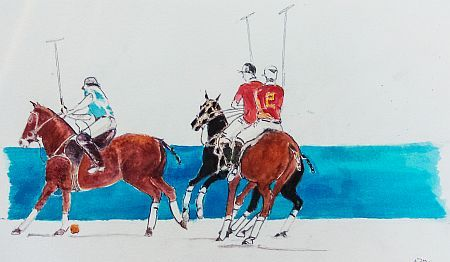 Polo on Cable Beach Gouache ©Nada Murphy Private Collection
