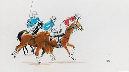 Beach Polo  Gouache   ©Nada Murphy Private Collection