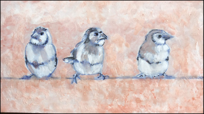 Birds on a wire . Mixed Media on board 9x5